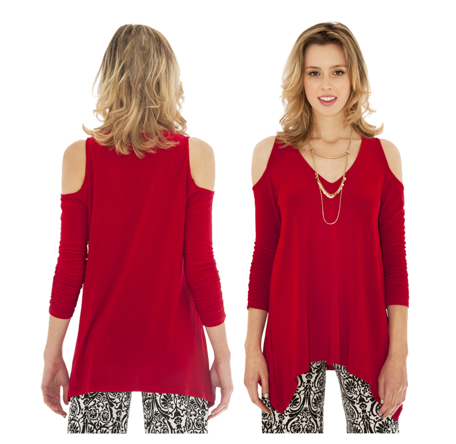 7942a9275b819c Red Cut Out Sleeve Blouse